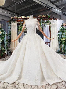 wedding gowns with long train sleeveless beading sequined zipper O-neck pleat wedding dress a line vestido de novia