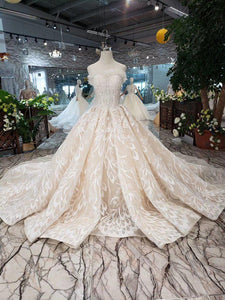 luxury sexy strapless wedding dresses lace champagne appliques ball gown Wedding Gowns with wedding veil