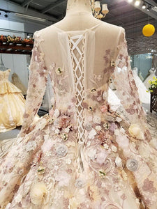 luxury evening dress long sleeves o neck 3D flowers floor length ball gown women occasion dress