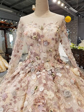 Load image into Gallery viewer, luxury evening dress long sleeves o neck 3D flowers floor length ball gown women occasion dress