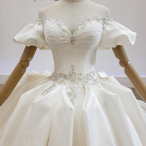 Court style Wedding Dresses Satin Off The Shoulder Short Sleeve Sexy Royal Train Ball Gowns wending dress
