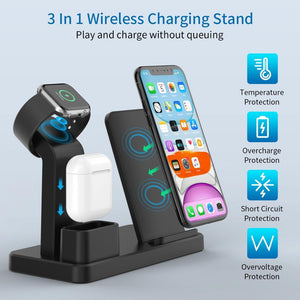 3 in 1 Wireless Charging Stand 10W Fast Wireless Charger For phone Charging Station for Airpods 2019 Watch 4 32