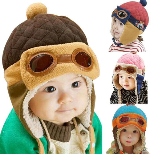 10 to 48 Months Baby Winter Hat 4 Colors Toddlers Cool Baby Boy Girl Infant Winter Pilot Warm Kids Cap Hat Beanie - moonaro