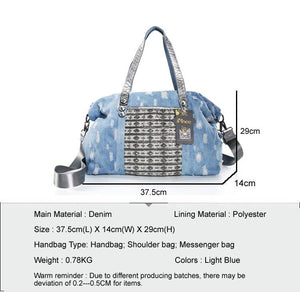 Ladies Messenger Bags Leisure Travel Tote  Denim Handbags Fashion Luxury Diamante Big Bag