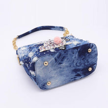 Load image into Gallery viewer, bucket bag ladies washed denim bag for women's bags small handbag female shoulder crossbody bag blue tote