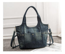 Load image into Gallery viewer, Women Denim Handbags Casual Blue Tote bags Crossbody Bag TOP-handle