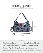 Load image into Gallery viewer, Women Fashion Bags Famous Brand Ladies Denim Handbag Blue Crossbody Bag for Women Casual Motorcycle Bag