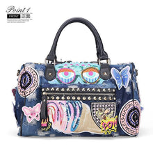Load image into Gallery viewer, Women Luggage Travel Bags Cute Cartoon Denim Bags Handbags Fashion Shoulder Bag