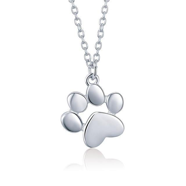 100% 925 Sterling Silver Rose Gold Pendant Dog Footprints Necklace For Women Luxury Jewelry Birthday Gift