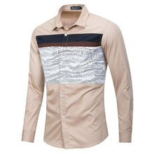 Load image into Gallery viewer, Spring New Men Patchwork Shirt 100% Cotton Casual Long Sleeve Printed Shirt Men Fashion