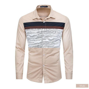 Spring New Men Patchwork Shirt 100% Cotton Casual Long Sleeve Printed Shirt Men Fashion