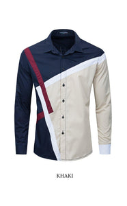 Fashion Color block Shirt Men Long Sleeve Casual Patchwork Shirt Man 100% Cotton Slim Fit Social Shirts