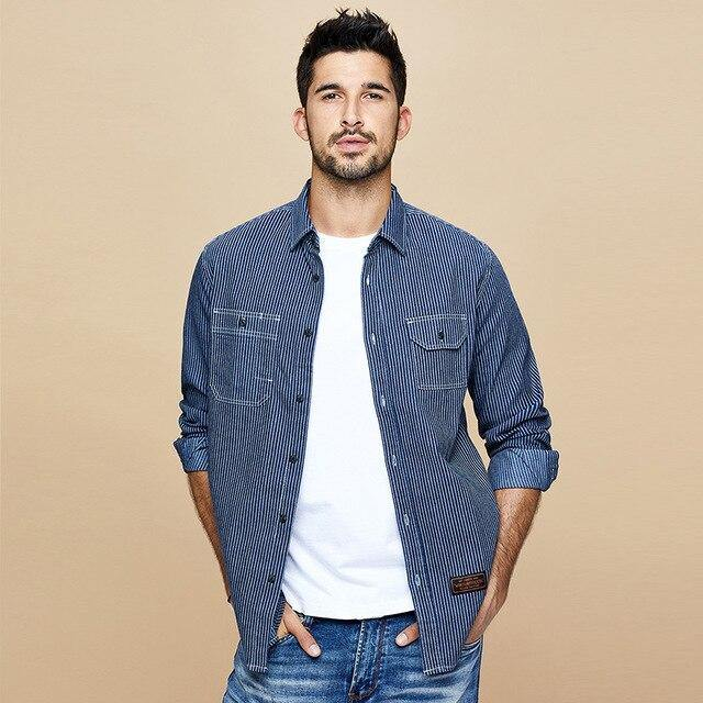 men denim shirt Spring South Korean style  edition fashion leisure stripe long sleeve shirts top