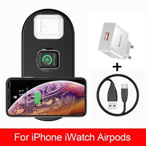 3 in 1 Qi Wireless Charger for Apple Watch 5 4 3 2 Airpods 3in1 18W Fast Wireless Charging Pad For iPhone 11 Pro Max Xs X