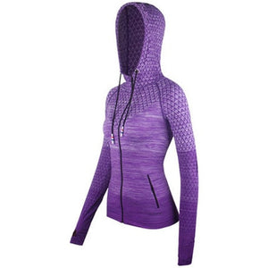 Curve Front Zipper hooded Women's Yoga Shirts Long Sleeve Yoga Top Sportswear Quick Dry  Tracksuit Women Running Jacket