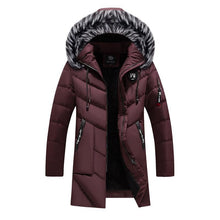 Load image into Gallery viewer, Winter Parka Men's Solid Jacket Thick Warm Coat Long Hooded Jacket Fur Collar Windproof Padded Coat Fashion Men