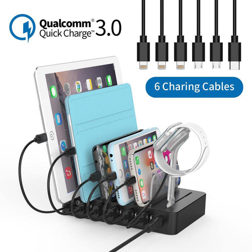 Fast Charging Station Dock 60W Multi-port USB charger with Quick Charge QC 3.0 for iphone ipad Kindle Tablet