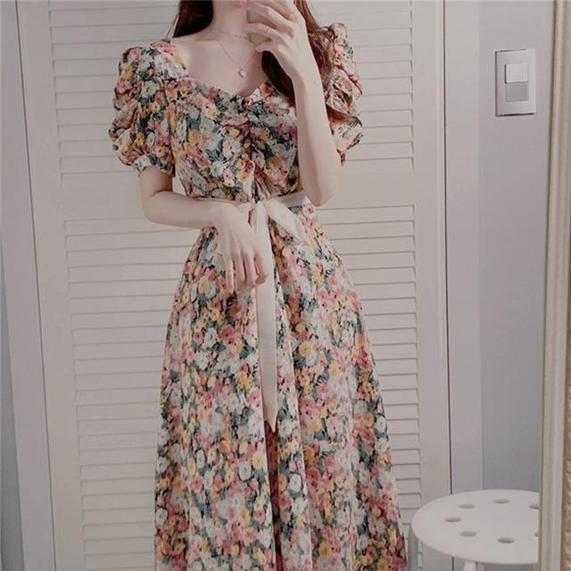 Women Summer Dresses Casual Vintage Chiffon Print Floral High Waist Fashionable Puff Sleeve Lace Up Long Dress