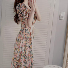 Load image into Gallery viewer, Women Summer Dresses Casual Vintage Chiffon Print Floral High Waist Fashionable Puff Sleeve Lace Up Long Dress