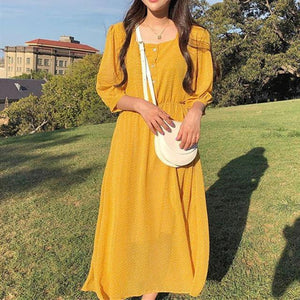 Women Summer Dresses Casual Lantern Sleeve Chiffon Print Dot High Waist Square Collar Heart Button Long Dress
