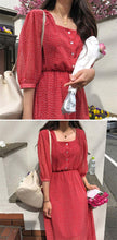 Load image into Gallery viewer, Women Summer Dresses Casual Lantern Sleeve Chiffon Print Dot High Waist Square Collar Heart Button Long Dress