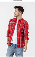 Load image into Gallery viewer, spring Casual Plaid Shirts Men High Quality Letter Embroidered Shirt Male High Quality Brand Clothing
