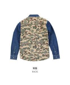spring winter new camouflage paneled denim shirt men Patckwork contrast color Military hip hop cotton shirts