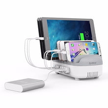 Load image into Gallery viewer, 10 Ports 120W Fast USB Charger Station Dock with Phone Holder 2.4A Quick Charging for Mobile Phone Tablet