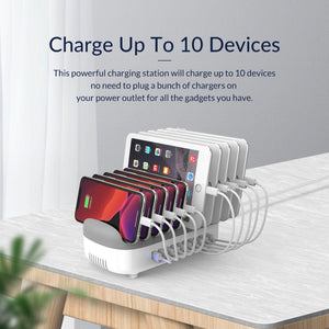 10 Ports 120W Fast USB Charger Station Dock with Phone Holder 2.4A Quick Charging for Mobile Phone Tablet