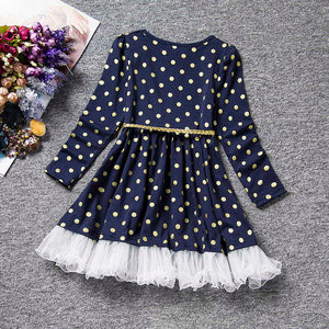 Baby Dress For Girl Long Sleeve Princess Girls Dresses Polka Dot Little Baby Birthday Party Dress Casual Kids Clothes