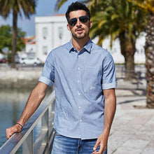 Load image into Gallery viewer, 100% cotton Men's shirt stripe Half sleeve fashion simple comfortable shirts summer cotton shirt blue top