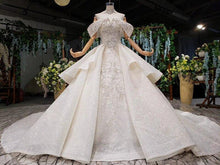 Load image into Gallery viewer, princess wedding dresses off shoulder bead collar chain shiny wedding gown royal train vestido de noiva