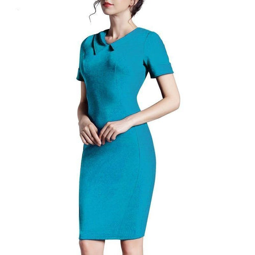 Summer Solid Color Plus size Work Dresses Business Office Bodycon Slim Women Dress - moonaro