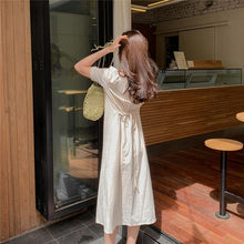 Load image into Gallery viewer, Women Summer Shirt Dresses Casual Single Breasted Puff Sleeve Buttons High Waist Lace Up Fashionable Long Dress