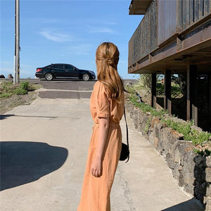 Women Summer Shirt Dresses Casual Single Breasted Puff Sleeve Buttons High Waist Lace Up Fashionable Long Dress