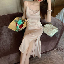 Load image into Gallery viewer, Women's Dress Basic Satin Sexy Casual Sleeveless Vintage Elegant Wild Lady Fashionable Split Long Dress