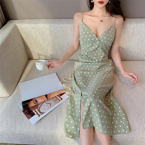 Women's Dress Basic V-neck Sexy Casual Draped Sleeveless Vintage Elegant Dot Wild Lady Slit Long Dress