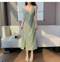 Load image into Gallery viewer, Women's Dress Basic V-neck Sexy Casual Draped Sleeveless Vintage Elegant Dot Wild Lady Slit Long Dress