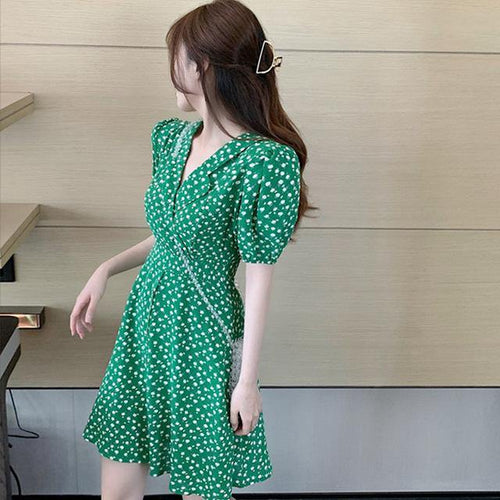 Women Dresses Floral Notched High Waist Puff Sleeve Casual Fashionable Buttons Print Vintage Lady Dress