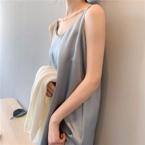 Women's Dress Solid Multi Colors Basic Satin Sexy Casual Sleeveless Vintage Elegant Wild Lady Long Dress