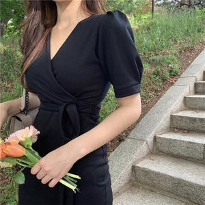 Women Summer Dresses Casual V-Neck Puff Sleeve High Waist Trumpet Sexy Fashionable Elegant Lace Up Long Dress