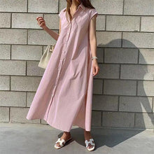 Load image into Gallery viewer, Women Summer Shirt Dresses Casual Sleeveless Stripe Single Breasted Buttons High Waist Lace Up Lady Long Dress