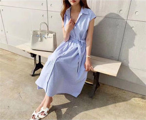 Women Summer Shirt Dresses Casual Sleeveless Stripe Single Breasted Buttons High Waist Lace Up Lady Long Dress