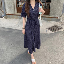 Load image into Gallery viewer, Women Summer Dresses Casual Print Dot Notched Single Breasted Buttons High Waist Lace Up Elegant Lady Long Dress