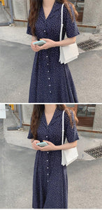 Women Summer Dresses Casual Print Dot Notched Single Breasted Buttons High Waist Lace Up Elegant Lady Long Dress