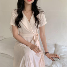 Load image into Gallery viewer, Women's Summer Dresses Casual High Waist Korean Style Lace Up Elegant Draped Pleated Fashionable Lady Long Dress