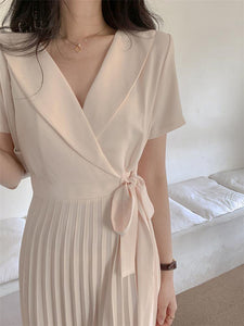 Women's Summer Dresses Casual High Waist Korean Style Lace Up Elegant Draped Pleated Fashionable Lady Long Dress