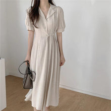 Load image into Gallery viewer, Women's Summer Dresses Casual High Waist Vintage Puff Sleeve Lace Up Elegant Cotton and Linen Draped Long Dress
