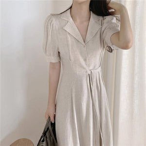 Women's Summer Dresses Casual High Waist Vintage Puff Sleeve Lace Up Elegant Cotton and Linen Draped Long Dress