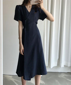 Women's Summer Dresses Casual V-Neck High Waist Solid Vintage Fashionable Lace Up Elegant Buttons Long Dress